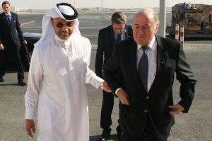 Joseph-Blatter-is-greeted-by-AFC-president-Mohammed-bin-Hammam